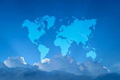 Blue sky cloud with world map Stock Photography