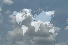 Blue sky cloud with world map Royalty Free Stock Photo