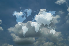 Blue sky cloud with world map. Nature cloudscape with blue sky and white cloud with world map Stock Photography