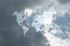 Blue sky cloud with world map. Nature cloudscape with blue sky and white cloud with world map Royalty Free Stock Photo