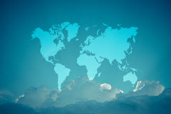 Blue sky cloud with world map , process in vintage style Royalty Free Stock Photography
