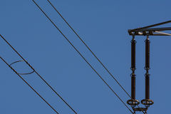 Blue Sky Cloudless Pylon Electricity Industry Power Lines Royalty Free Stock Photos