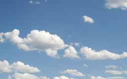 Blue sky with clouds. Blue sky with white clouds useful as a background Royalty Free Stock Photography
