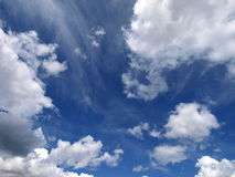 Blue sky and clouds. Scenic view of cloud formations in blue sky Stock Photography