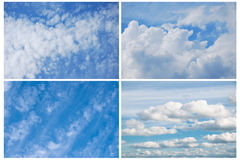 Blue Sky With Clouds. 4 pictures of blue sky with different white clouds Royalty Free Stock Photography