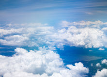 Blue sky with clouds. View of blue sky with clouds Stock Photography