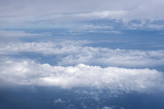 Blue sky with clouds aerial view from airplane Royalty Free Stock Images