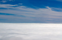 Blue sky with clouds aerial view Stock Photo
