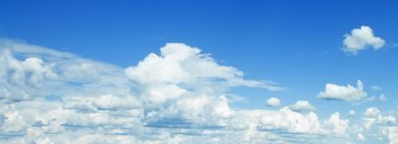 Blue sky clouds background. Beautiful landscape with clouds on sky royalty free stock photos