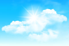 Blue sky and clouds. Background with sun in the clouds on blue sky. Blue Sky vector Vector Illustration