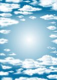 Blue sky with clouds. Blue sky background with clouds and sunlight Stock Photo