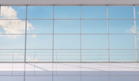 Blue sky with clouds background through window Royalty Free Stock Image