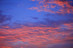 Blue sky clouds,Blue sky with clouds.purple sunset sky. Stock Photos