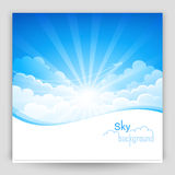 Sky background. Blue sky with clouds and bright lights