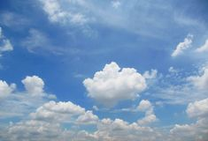 Blue sky with clouds. Blue clear sky with fluffy clouds royalty free stock images