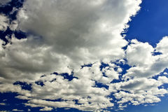 Blue sky with clouds. Closeup stock photos