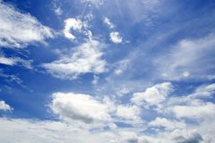 Blue sky with clouds closeup Royalty Free Stock Photography