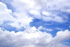 Blue sky with clouds closeup Stock Photo