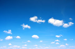 Blue sky with clouds closeup. Stock Photo