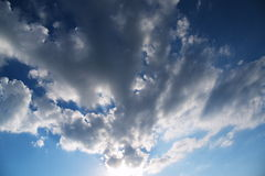 Blue sky with clouds closeup. With sunset Royalty Free Stock Photos