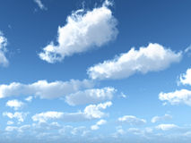 Blue sky with clouds. Computer generated 3D illustration with blue sky and clouds Royalty Free Stock Image