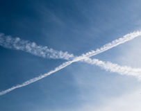 Blue Sky with and clouds and a cross in sky Stock Images