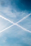 Blue Sky with and clouds and a cross in sky Royalty Free Stock Images