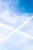 Blue Sky with and clouds and a cross in sky. Blue Sky with white  and clouds and a cross in sky Stock Photos