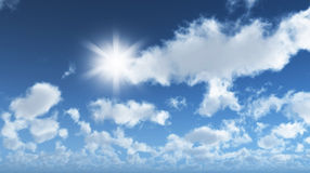 Blue sky with clouds. 3D render of a sunny blue sky with clouds Royalty Free Stock Images