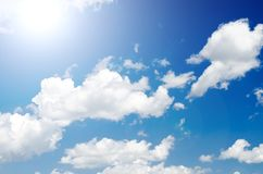 Blue sky with clouds. Blue sky with clouds flying in air Royalty Free Stock Photos