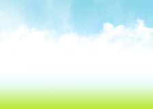 Blue sky, clouds and green field summer background Royalty Free Stock Photos