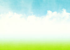 Blue sky, clouds and green field summer background Stock Image