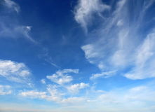 Blue sky and clouds. High skies of Russia. Weightless clouds in the sky Stock Photography