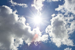Blue Sky with clouds - Hot Sun Stock Photography