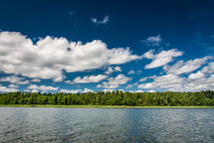 Blue sky with clouds at the lake Royalty Free Stock Photography