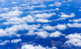 Blue sky and Clouds looking from the Airplane Stock Image