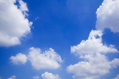 Blue sky with clouds many cubes Royalty Free Stock Photography
