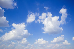 Blue sky with clouds many cubes Stock Photos