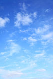 Blue sky with clouds. Natural background stock photography