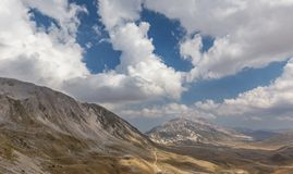 Blue sky with clouds over Campo Imperatore at Gran Sasso Nationa Stock Photo