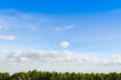 Blue sky with clouds over field. Beautiful Stock Photo