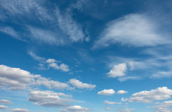 Blue sky with clouds over horizon Stock Images