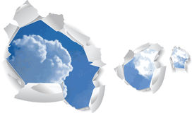 Blue Sky Clouds Over Paper Holes. Stock Image