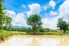 Blue sky with clouds over the reservoir Royalty Free Stock Photography