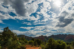 Blue Sky and Clouds over Sedona, AZ. Beautiful blue sky and fluffy white clouds over Sedona AZ Royalty Free Stock Images