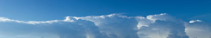 Blue sky and clouds panorama shot. Stock Photo