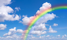 Blue sky and clouds with rainbow nature for background.  Stock Photo