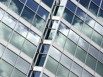 Blue sky and clouds reflection. Blue sky and clouds reflected in the glass building in downtown Toronto stock images