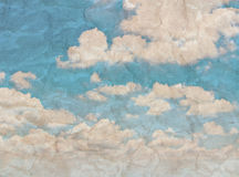 Blue sky with clouds retro style. Royalty Free Stock Image