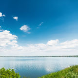 Blue sky with clouds and river Royalty Free Stock Photo